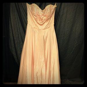 1950s Vintage Pale Pink Taffeta Prom Dress